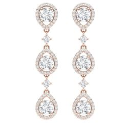 4.45 CTW Royalty Designer VS/SI Diamond Earrings 18K Rose Gold - REF-538H2W - 39106