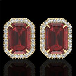 12 CTW Garnet And Micro Pave VS/SI Diamond Certified Halo Earrings 18K Yellow Gold - REF-73H6W - 212