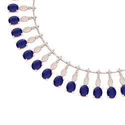 65.62 CTW Royalty Sapphire & VS Diamond Necklace 18K Rose Gold - REF-1072R8K - 39127