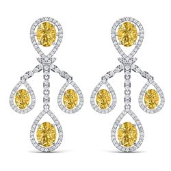 20.69 CTW Royalty Canary Citrine & VS Diamond Earrings 18K White Gold - REF-418H2W - 38586