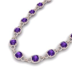 66 CTW Amethyst & VS/SI Diamond Necklace 14K Rose Gold - REF-794M5F - 23036