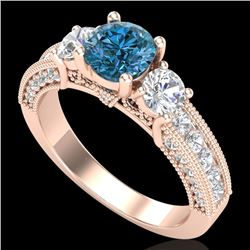 2.07 CTW Intense Blue Diamond Solitaire Art Deco 3 Stone Ring 18K Rose Gold - REF-254T5X - 37783