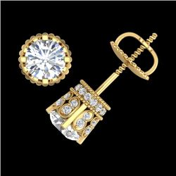 3 CTW VS/SI Diamond Solitaire Art Deco Stud Earrings 18K Yellow Gold - REF-584M3F - 36838