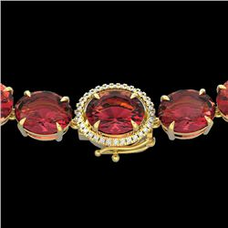 145 CTW Pink Tourmaline & VS/SI Diamond Halo Micro Necklace 14K Yellow Gold - REF-1955X6T - 22311