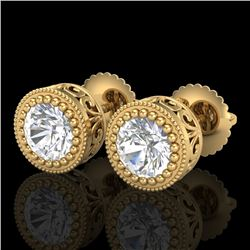1.09 CTW VS/SI Diamond Solitaire Art Deco Stud Earrings 18K Yellow Gold - REF-180R2K - 36889