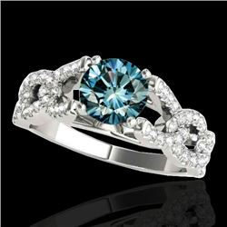 1.5 CTW SI Certified Fancy Blue Diamond Solitaire Ring 10K White Gold - REF-180H2W - 35219