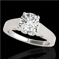 1.25 CTW H-SI/I Certified Diamond Solitaire Ring 10K White Gold - REF-180M2F - 35146