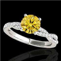 1.25 CTW Certified Si Fancy Intense Yellow Diamond Solitaire Ring 10K White Gold - REF-152R5K - 3523