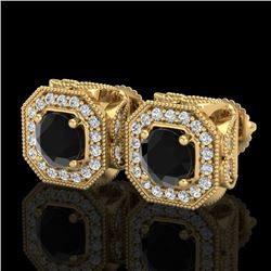 2.75 CTW Fancy Black Diamond Solitaire Art Deco Stud Earrings 18K Yellow Gold - REF-178R2K - 38285