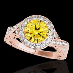 1.75 CTW Certified Si Fancy Intense Yellow Diamond Solitaire Halo Ring 10K Rose Gold - REF-320M2F -
