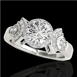 1.56 CTW H-SI/I Certified Diamond Solitaire Halo Ring 10K White Gold - REF-209F3M - 34328