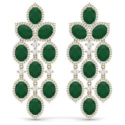 35.15 CTW Royalty Emerald & VS Diamond Earrings 18K Yellow Gold - REF-590T9X - 38924