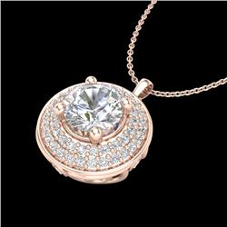 1.25 CTW VS/SI Diamond Solitaire Art Deco Necklace 18K Rose Gold - REF-272F8M - 37260