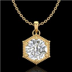 0.82 CTW VS/SI Diamond Solitaire Art Deco Stud Necklace 18K Yellow Gold - REF-218R2K - 37222