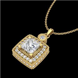 0.91 CTW Princess VS/SI Diamond Art Deco Stud Necklace 18K Yellow Gold - REF-145T5X - 37132