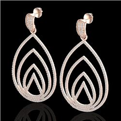 2.50 CTW Micro Pave VS/SI Diamond Certified Designer Earrings 14K Rose Gold - REF-221W6H - 22477