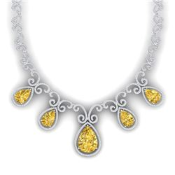 36.1 CTW Royalty Canary Citrine & VS Diamond Necklace 18K White Gold - REF-1022T8X - 39537