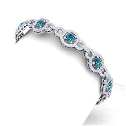 12 CTW Si/I Fancy Blue And White Diamond Bracelet 18K White Gold - REF-831R8K - 40115
