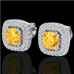2.16 CTW Citrine & Micro VS/SI Diamond Earrings Double Halo 18K White Gold - REF-99W3H - 20339