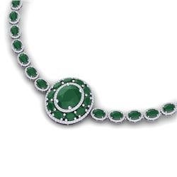 43.54 CTW Royalty Emerald & VS Diamond Necklace 18K White Gold - REF-981Y8N - 39273