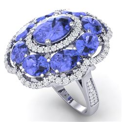15.24 CTW Royalty Tanzanite & VS Diamond Ring 18K White Gold - REF-327W3H - 39192