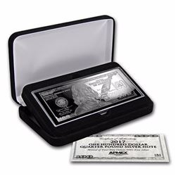 4 oz .999 Pure Silver Bar - 2017 $100 Bill (W/Box & COA)