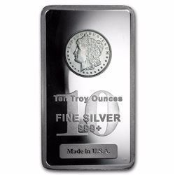 10 oz .999 Pure Silver Bar - Morgan Dollar Design