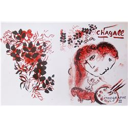 Marc Chagall Lithographe III 1974 Original Ltd Edition Lithograph W/coa