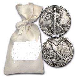 100 Coins 90% Silver Walking Liberty Half-Dollars $50 Face-Value Bag