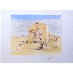 "Salvador Dali PARANOIC VILLAGE Limited Edition Plate Signed Lithograph W/COA  32""x22"""