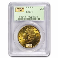 $20 Liberty Gold Double Eagle MS-61 PCGS (1800's S-Mint)