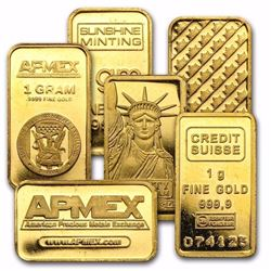 6 GOLD BARS Each Contains 1 gram of .9999 fine Gold. Total 6 Grams