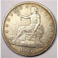 1875-CC Silver Trade Dollar AU-58 SCARCE DATE