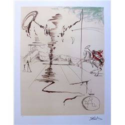 "Salvador Dali SPINNING MAN Limited Edition Plate Signed Lithograph 33""x22"""