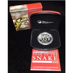 2013 Australia $1 Lunar Year of the Snake Coloured Proof
