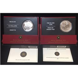 Lot of 2 - WWII Victory and Verteran Fine Silver Coins