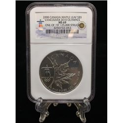 2008 $5 Vancouver 2010 Olympics Canada Maple Leaf NGC MS69 One of First 125K Struck