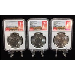 Lot of 3 - 2016 Silver Maple Leaf NGC MS69 First Day of Issue
