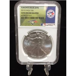 2015 $1 American Silver Eagle MLB Toronto Blue Jays NGC GEM Uncirculated