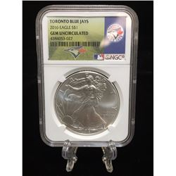 2016 $1 American Silver Eagle MLB Toronto Blue Jays NGC GEM Uncirculated