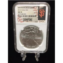 2014 $1 American Silver Eagle MLB San Francisco Giants World Series Champion NGC MS 70