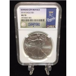2014 $1 American Silver Eagle MLB Kansas City Royals World Series Champion NGC MS 70