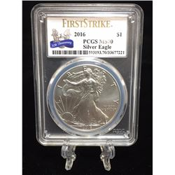 2016 $1 American Silver Eagle PCGS MS 70 30th Anniversary First Strike