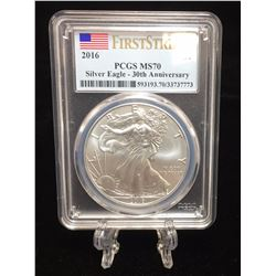 2016 $1 American Silver Eagle PCGS MS 70 First Strike 30th Anniversary