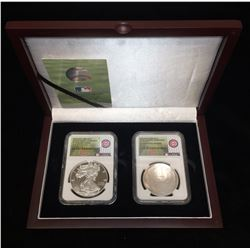 2014-P Baseball Hall of Fame & 2016-W American Silver Eagle Chicago Cubs World Series Collector Set