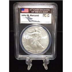 2013 $1 American Silver Eagle PCGS MS 69 First Strike Mercanti Signed