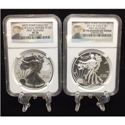 2013-W American Silver Eagle West Point Mint NGC PF70 & SP70 Enhanced Finish First Releases Set