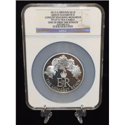 2015 5oz Great Britain 10 Pounds Queen Elizabeth II The Longest Reigning Monarch NGC PF 69 Ultra Cam