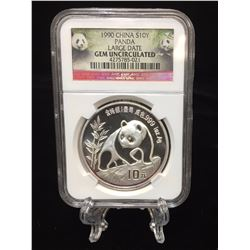 1990 China Silver Panda NGC GEM Uncirculated Large Date