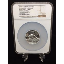 2015P 5oz Australia $8 Kangaroo NGC PF 70 Ultra Cameo High Relief First Year of 5oz Silver Kangaroo